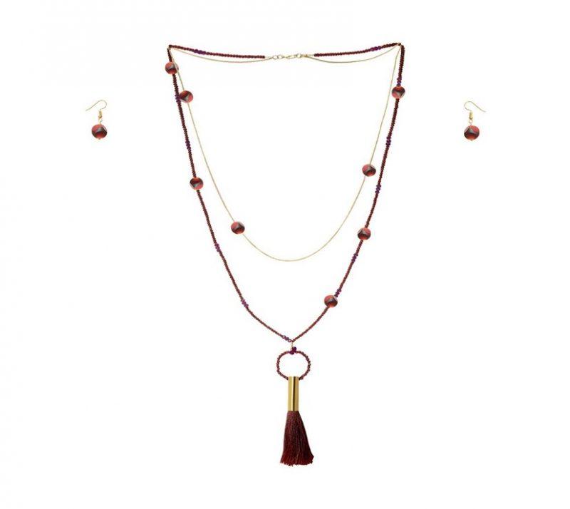 2d9f12db21aa Collar largo doble de cristales checos vino y cadena de 14 k con aretes