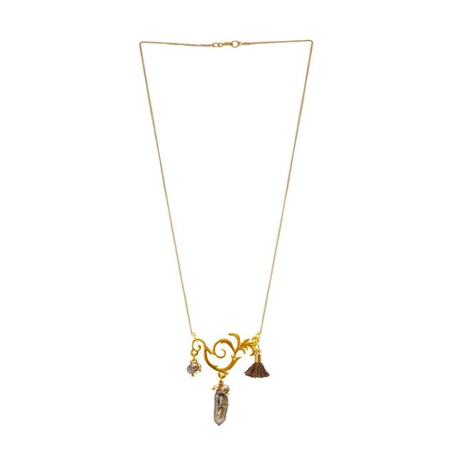 60f61719490c Collar placa griega y cadena chapa de oro 14 K