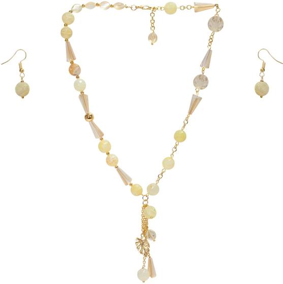 08f633427a1d Collar corto con ágatas y cristales checos color amarillo